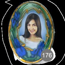 овальный портрет на стекле с орнаментом 176